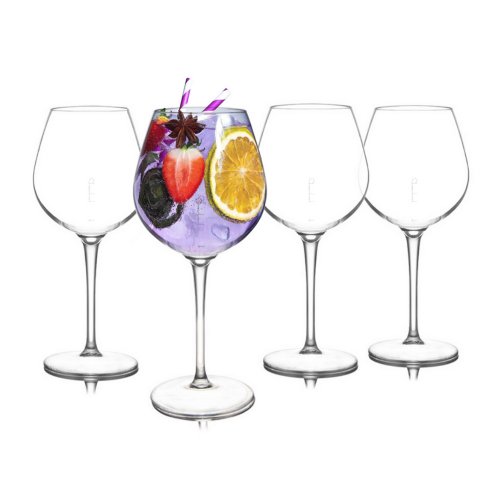 Shatterproof Goblet Glass With Pour Lines - Set of 4