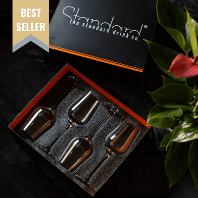 The Standard Drink Company Wine Glass Premium Gift Set Universal Crystal Wine Glass With Pour Lines - Gift Set of 4