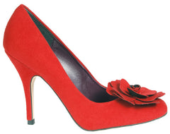 Beyond Skin Sweetie Red Faux Suede Heels