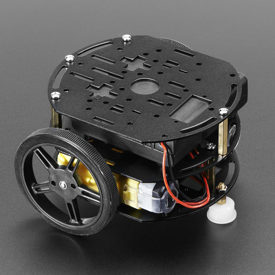 A product image of Mini 3-Layer Round Robot Chassis Kit - 2WD with DC Motors