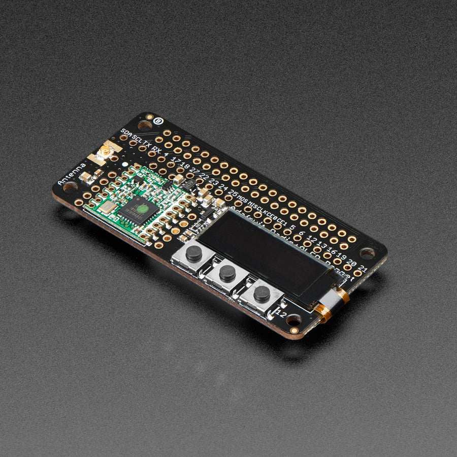 A product image of Adafruit LoRa Radio Bonnet with OLED - RFM95W @ 915MHz - RadioFruit
