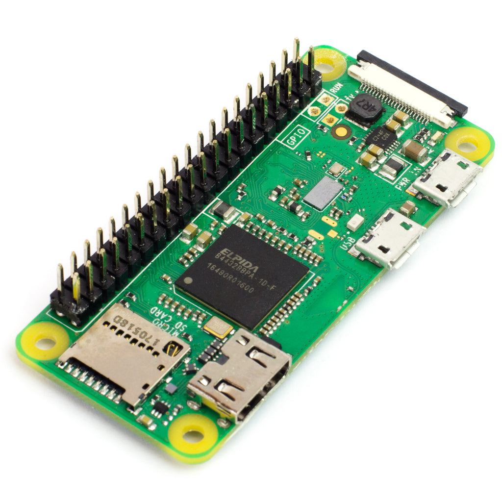 A product image of Raspberry Pi Zero WH (pre-soldered)