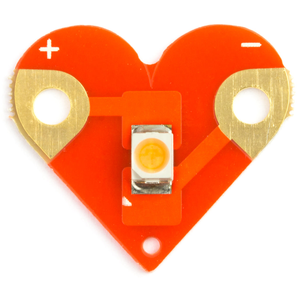 A product image of Sewable Heart LEDs