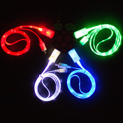 Glowing USB cable - varied colours