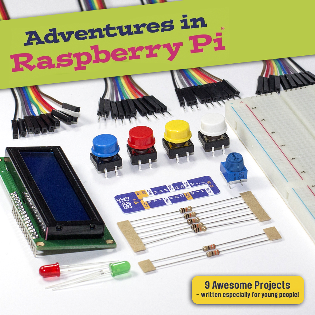 A product image of Adventures in Raspberry Pi - Parts Kit