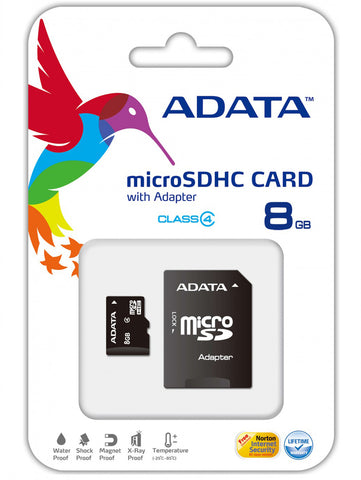 ZIZO ADATA Micro SDHC Card w/ Adapter - 8GB Memory Card | Memory Cards | zizowireless.com