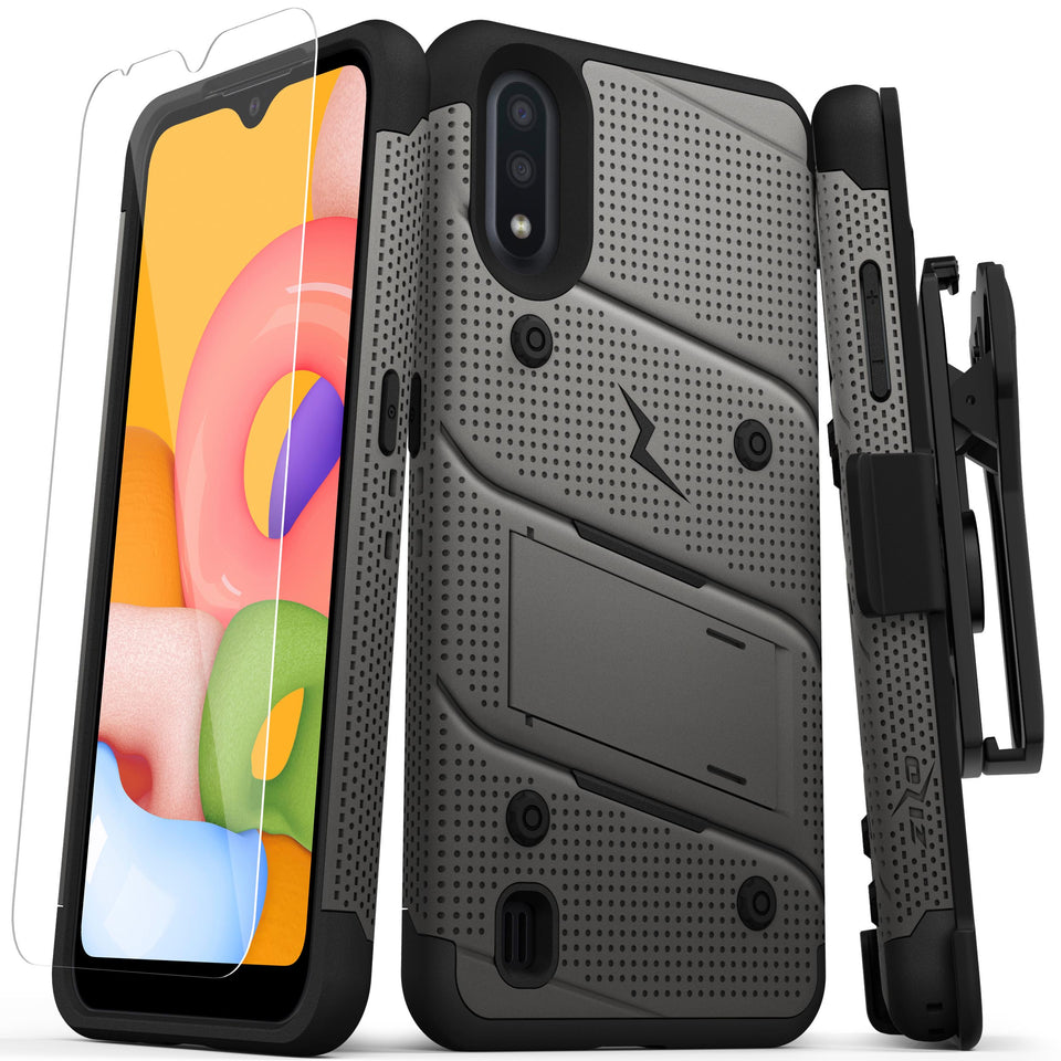 ZIZO BOLT Series Galaxy A01 Case - Gun Metal Gray & Black