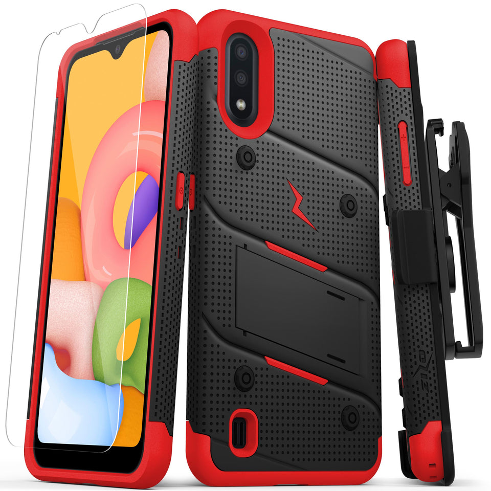 ZIZO BOLT Series Galaxy A01 Case - Black & Red
