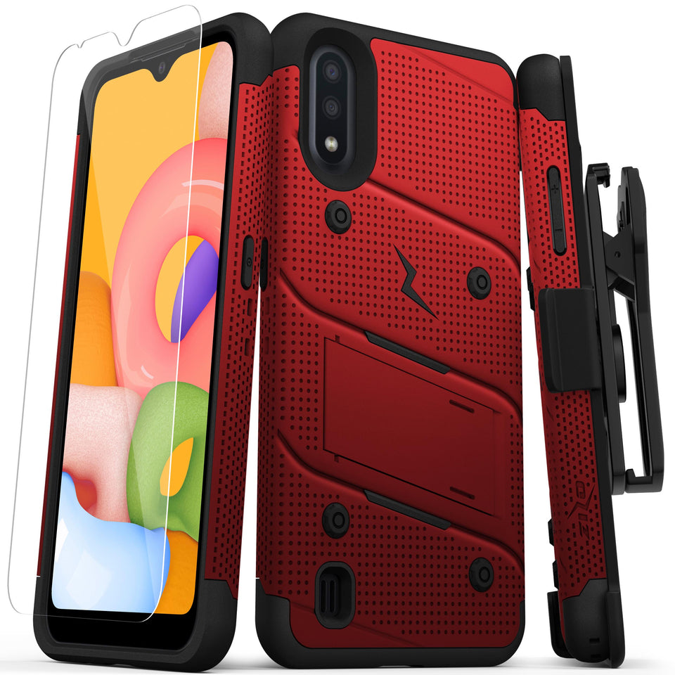 ZIZO BOLT Series Galaxy A01 Case - Red & Black