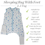 Snoozebag Baby Sleeping Bag In 2.5 tog With Front Zip 100% Cotton - Spots