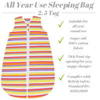 Snoozebag Baby Sleeping Bag In 2.5 tog With Front Zip 100% Cotton - Multi Stripes