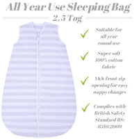 Snoozebag Baby Sleeping Bag 2.5 Tog 0-6 Months Front Zip 100% Cotton - Grey Stripe