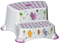 Hippo Friends Toilet Training Kids Non Slip Up Double Two Step Stool with Grips Unisex White for Safe Toddler Loo Potty Training in The Bathroom and Home