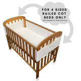 Breathe Easy Air Mesh 4 Sided Unisex Nursery Cot Bed Liner Bumper Set - White 1 x Liner 460cm x 28cm(ONLY for COTS BEDS with Rails ON All 4 Sides AS Pictured)