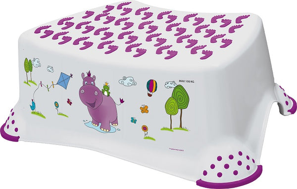 Hippo Friends Toilet Training Kids Non Slip Up Step Stool with Grips Unisex White for Safe Toddler Loo Potty Training