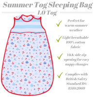 Snoozebag Baby Sleeping Bag Summer 1.0 tog Side Zip 100% Cotton - Boats & Anchors