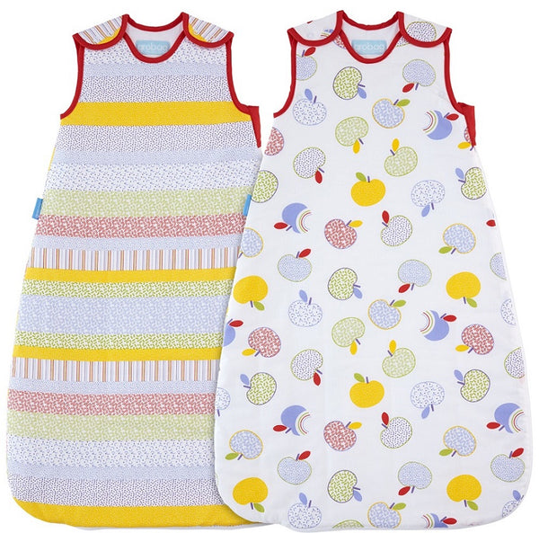 Grobag Twin Pack Baby Sleeping Bag Size 18-36 Months - 2.5 Tog Apples & Pears Design 100% Cotton Multicoloured Nursery Side Zip Opening Sleep Sack