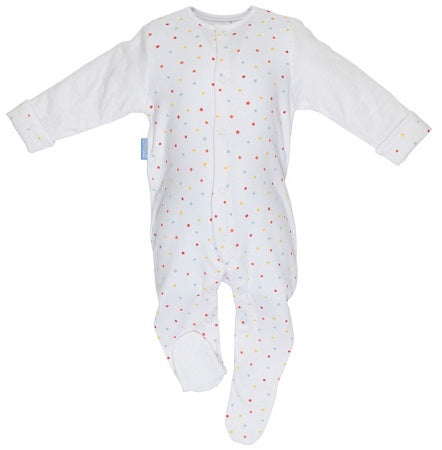 Grobag Baby Grosuit Super Soft White Jersey Cotton With Quilted Sleeves For Cosy Arms - Dazzler 6-9 Months