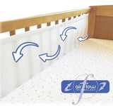 Breathe Easy Air Mesh Solid End Cot Bed Liner Set 2 Sided Unisex Nursery Cot Bed Bumper White 2 x Liners Each 150cm x 28cm (for Solid End Cots As Pictured)