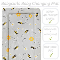 Babycurls Baby Changing Mat - Wipe Clean Waterproof 76cm x 45cm - Grey Bee