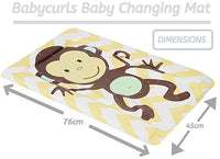 Babycurls Baby Changing Mat - Wipe Clean Waterproof 79cm x 46cm - Monkey Chevron