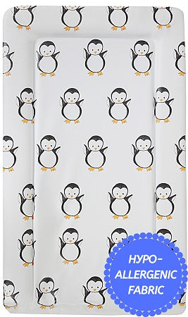 Babycurls Baby Changing Mat - Wipe Clean Waterproof 76cm x 45cm - White Penguins