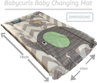 Babycurls Baby Changing Mat - Wipe Clean Waterproof 76cm x 45cm - Elephant Chevron (Greys)