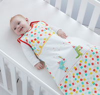 Grobag Baby Sleeping Bag Size 0-6 Months - 2.5 Tog Party Animals Design 100% Cotton Multicoloured Nursery Side Zip Opening Sleep Sack