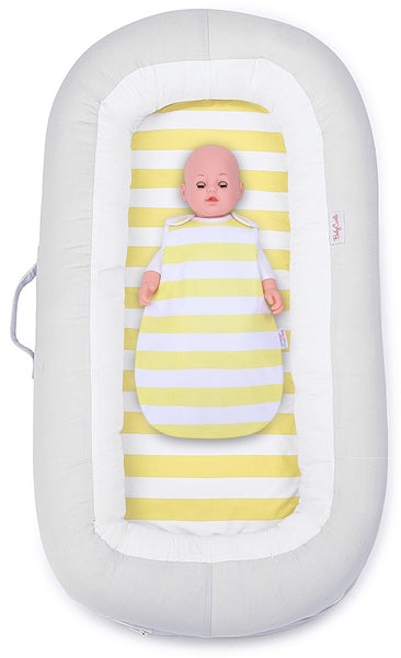 Babycurls Baby Sleep Nest Sleeping Pod Multi-Function Portable Washable 100% Soft Cotton 0 Months + Lemon Stripe