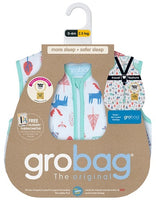 Grobag Travel Baby Sleeping Bag Size 0-6 Months - 2.5 Tog Nordic Walks Design 100% Cotton Multicoloured Nursery Front Zip Opening Sleep Sack