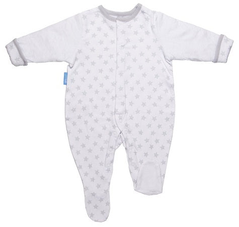 Grobag Baby Grosuit Super Soft White Jersey Cotton With Quilted Sleeves For Cosy Arms - Stars 3-6 Months