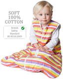 Snoozebag Baby Sleeping Bag Multi Tog 0-6 Months Front Zip 100% Cotton - Multi Stripe