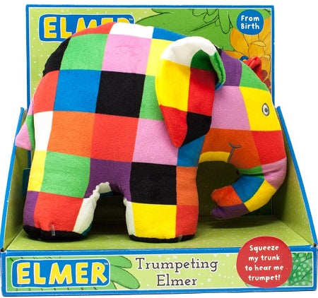 Trumpeting Elmer Soft Elephant Toy Baby Gift
