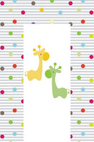 Baby Changing Mat - Wipe Clean Waterproof 79cm x 46cm - Giraffe & Friends (Green - Orange)