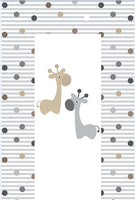 Baby Changing Mat - Wipe Clean Waterproof 79cm x 46cm - Giraffe & Friends (Grey)
