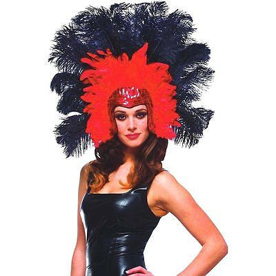 Vegas Showgirl Headpiece Red/Black Feathers, Sequins,Vegas, Carnival, Mardi Gras