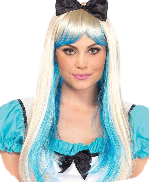 alice and wonderland costume wig blue and blonde black bow