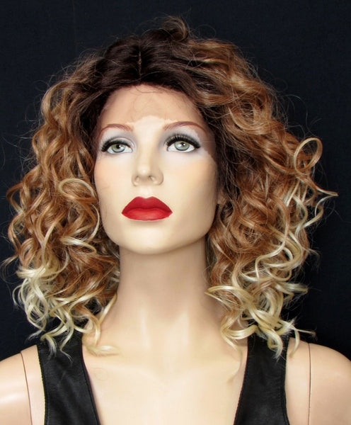 curly lace front wig brown and blonde ombre