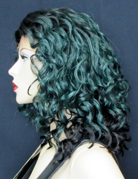 curly lace front wig teal green