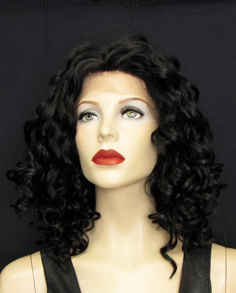 curly lace front wig black