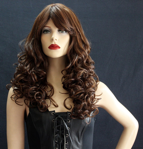 long curly brown wig heat safe