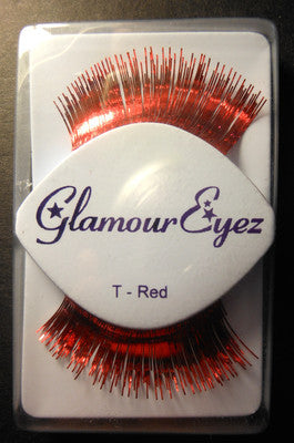 Glamour Eyez Red Tinsel T-Red Synthetic False Eyelashes By Westbay