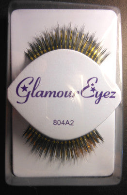 Glamour Eyez Gold Tinsel  And Black Fiber 804A2  Synthetic Eyelashes By Westbay