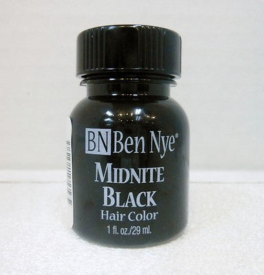 Ben Nye Liquid Hair Color Midnight Black MB-1  1fl.oz/29ml Brush On Wash Out
