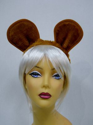 Cat/Mouse Ears On Furry Headband With Elastic Strap From Rubies