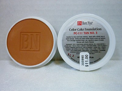 Ben Nye Color Cake Foundation PC-111 Tan No. 3  1oz/28 gram