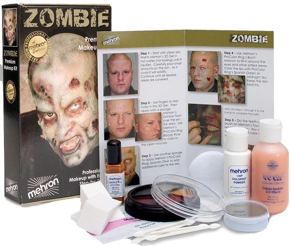 Zombie Premium Makeup Kit With Instructions By Mehron Halloween, Zombie, Moulage