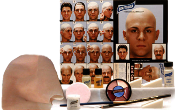 Bald Cap Complete Kit By Graftobian, Theatrical, Movie, Cosplay, Halloween Makeup Kit