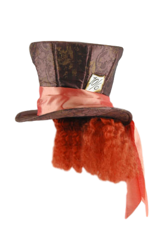 Mad Hatter Disney Officially Licensed Top Hat With  Attached Hair