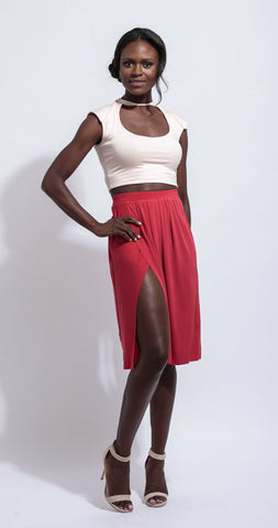 Red Midi skirt with slit.
